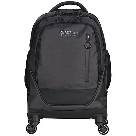 "Kenneth Cole Reaction R-Tech Rolling Backpack With 17"" Laptop Pocket, Black/Silver"