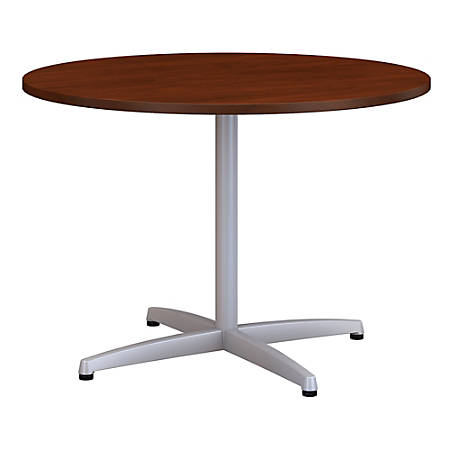 "Bush Business Furniture 42""W Round Conference Table with Metal X Base, Hansen Cherry, Standard Delivery"