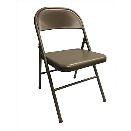 """Realspace® Metal Folding Chairs, 30-1/2""""H x 18-1/10""""W x 18-1/5""""D, Tan, Pack Of 4"""