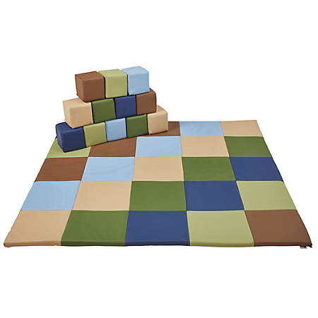 "ECR4Kids SoftZone® Patchwork Toddler Mat And 12-Piece Block Set, 58"" x 58"", Earth Tone"