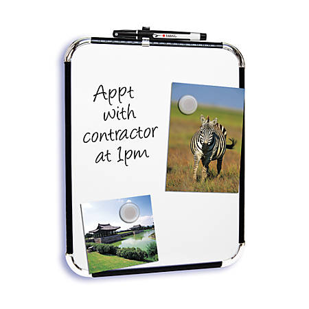 "FORAY™ Magnetic Dry-Erase Board, 11"" x 14"", White Board, Black Plastic Frame"