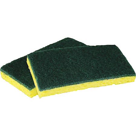 """Impact Products Cellulose Scrubber Sponge - 0.9"""" Height x 3"""" Width x 6.3"""" Length - 5/Pack - Cellulose - Yellow, Green"""