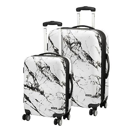 Overland Geoffrey Beene Deep Marble 2-Piece Hardside Luggage Set, Black/White