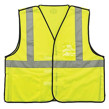 Ergodyne GloWear Safety Vest, ID Holder, Type-R Class 2, 4X/5X, Lime, 8216BA