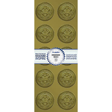 """Geographics® Embossed Seals, Excellence, 2"""" Diameter, Gold, Pack Of 50"""