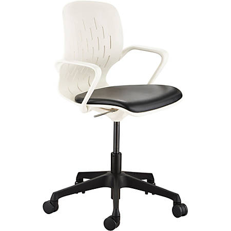 Safco Shell Vinyl Mid-Back Desk Chair, White/Black