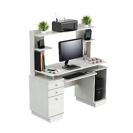 Inval Computer Work Center With Hutch, Laricina White