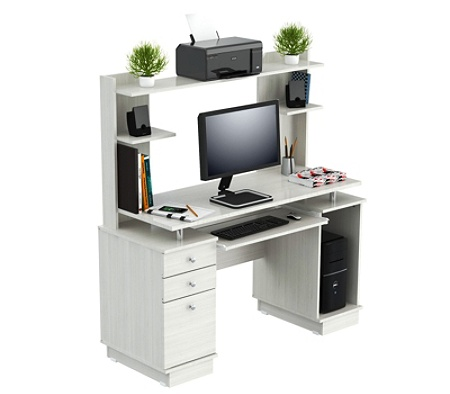 Inval Computer Work Center With Hutch Laricina White By Office Depot Officemax