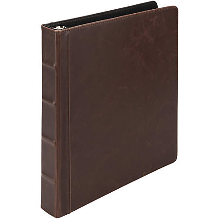 "Samsill Vintage 1"" Round Ring Hardback Binder - 1"" Binder Capacity - Round Ring Fastener(s) - 2 Internal Pocket(s) - Dark Brown - 1 Each"