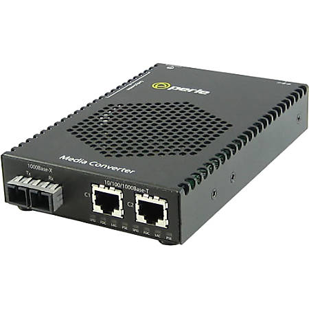 Perle S-1110DP-M2SC2 Media Converter - 1x PoE (RJ-45) Ports - 1 x SC Ports - 1000Base-LX, 10/100/1000Base-T - Rail-mountable, Rack-mountable, Wall Mountable