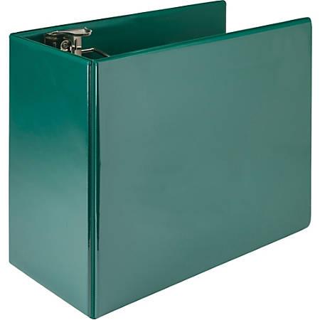 "Samsill Nonstick 6"" Locking D-Ring View Binder - 6"" Binder Capacity - 1225 Sheet Capacity - 3 x D-Ring Fastener(s) - 2 Internal Pocket(s) - Green - Recycled - 1 Each"
