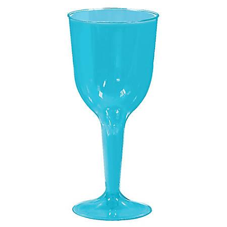 Amscan Plastic Wine Glasses, 10 Oz, Caribbean Blue, 20 Glasses Per Pack, Case Of 2 Packs