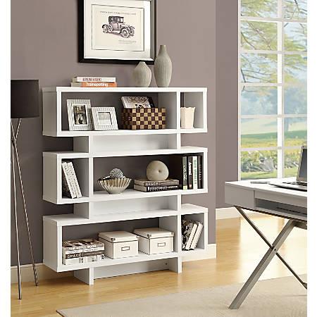 Monarch Specialties 3-Shelf Modern Bookcase, White