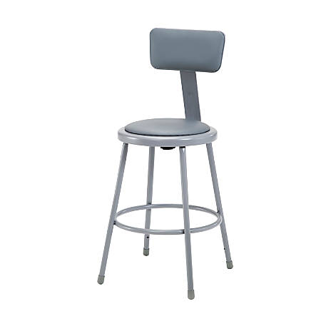 "National Public Seating Vinyl-Padded Stool With Back, 24""H, Gray"