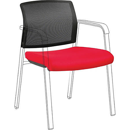 Lorell Stackable Chair Mesh Back/Fabric Seat Kit - Black, Red - Fabric - 1 Each