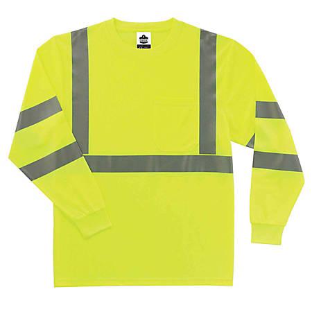 Ergodyne GloWear 8391 Type-R Class 3 Long-Sleeve T-Shirt, X-Large, Lime