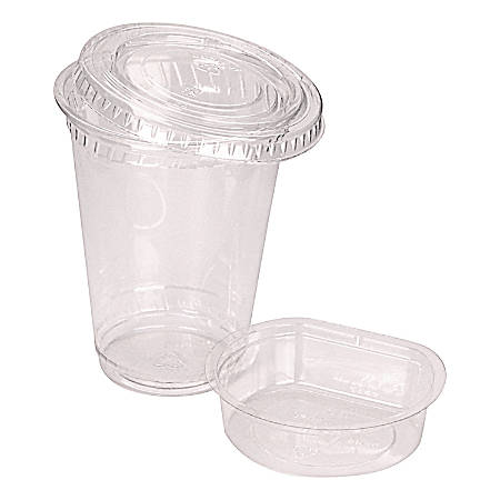 Fabri-Kal® Kal-Clear® Cold Drink Cup Combo Packs, 9 Oz Cups, 2 Oz Inserts, Clear, Carton Of 500 Sets