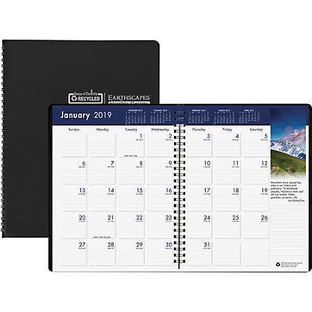 """House of Doolittle Earthscapes Wirebnd Color Monthly Planner - Yes - Monthly - 1.2 Year - December 2018 till January 2020 - 1 Month Double Page Layout - 8 1/2"""" x 11"""" - Wire Bound - Black - Simulated Leather - Non-refillable"""