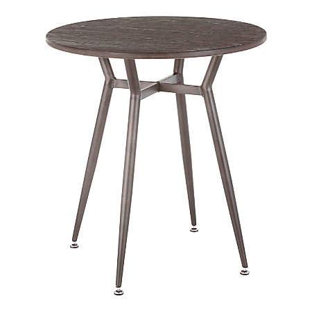 "LumiSource Clara Industrial Dinette Table, 30-1/4""H x 27-3/4""W x 27-3/4""D, Antique Metal/Espresso"