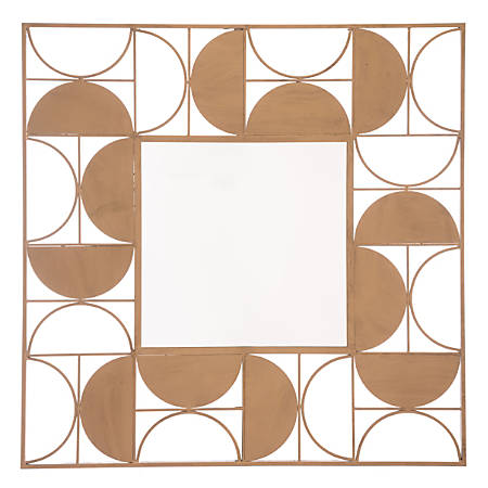 "Zuo Modern Decade Square Mirror, 39 7/16""H x 39 7/16""W x 13/16""D, Gold"