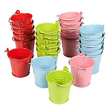 Juvale 24 Pack Small Metal Buckets