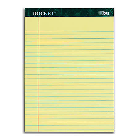 "TOPS™ Docket™ Writing Pads, 8 1/2"" x 11 3/4"", Legal Ruled, 50 Sheets, Canary, Pack Of 12 Pads"