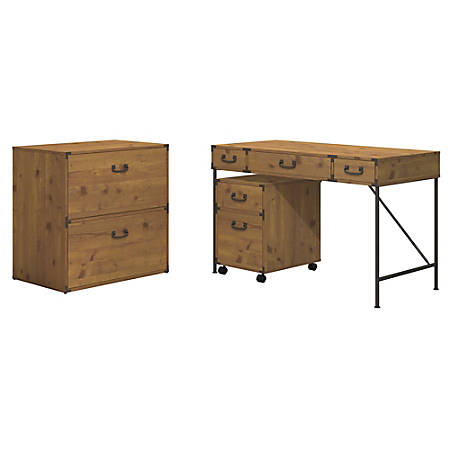 """kathy ireland® Office by Bush Furniture Ironworks 48""""W Writing Desk, 2 Drawer Mobile Pedestal, And Lateral File Cabinet, Vintage Golden Pine, Standard Delivery"""