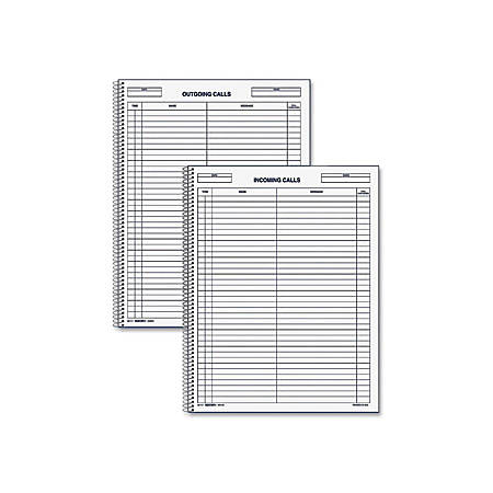 """Rediform Incoming/Outgoing Call Register Book - 100 Sheet(s) - Wire Bound - 8 1/2"""" x 11"""" Sheet Size - White Sheet(s) - Blue Print Color - Recycled - 1 Each"""
