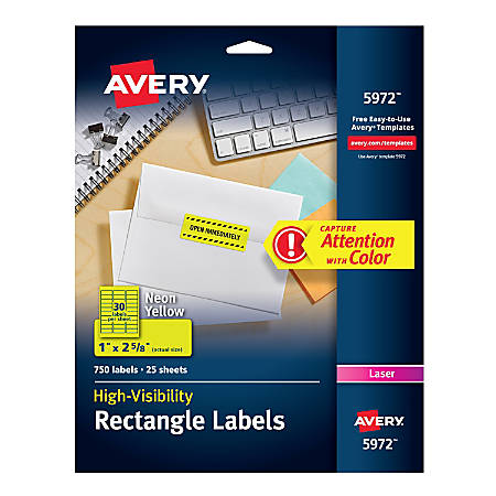 """Avery® High-Visibility Permanent Laser ID Labels, 5972, 1"""" x 2 5/8"""", Yellow, Pack Of 750"""