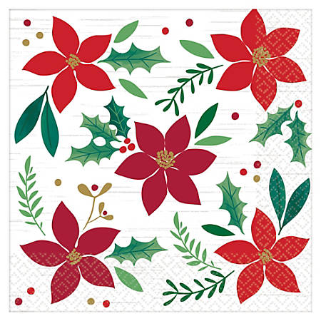 "Amscan Christmas Wishes 2-Ply Dinner Napkins, 8"" x 8"", 16 Napkins Per Pack, Set Of 3 Packs"