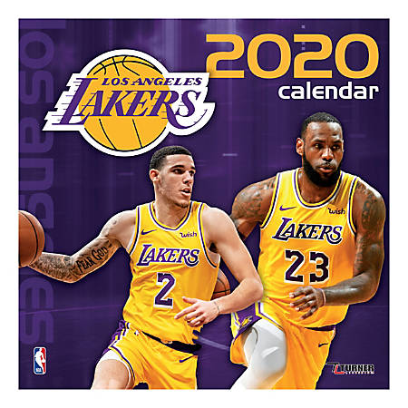 """Turner Licensing Monthly Wall Calendar, 12"""" x 12"""", Los Angeles Lakers, 2020"""