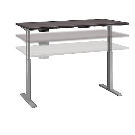 """Bush Business Furniture Move 60 Series 60""""W x 30""""D Height Adjustable Standing Desk, Storm Gray/Cool Gray Metallic, Standard Delivery"""