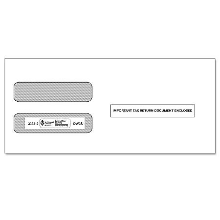 ComplyRight Double-Window Envelopes For W-2 Forms 5210 And 5211, 3-Up, Self-Seal, White, Pack Of 100 Envelopes