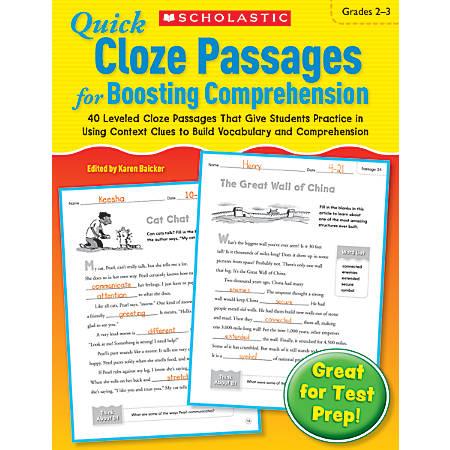 Scholastic Quick Cloze Passages For Boosting Comprehension: Grades 2–3