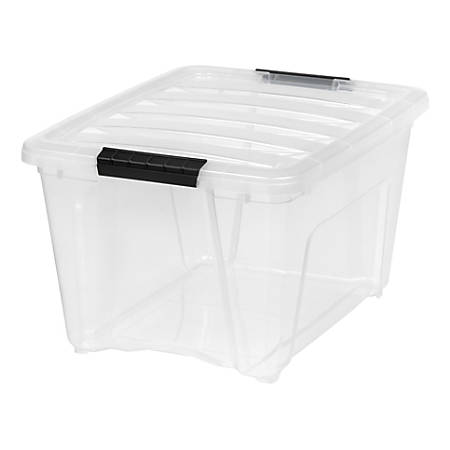 "IRIS Stack And Pull Boxes, 32-Quart, 10-1/2"" x 14-3/8"" x 18-3/4"", Clear, Pack of 6 Boxes"