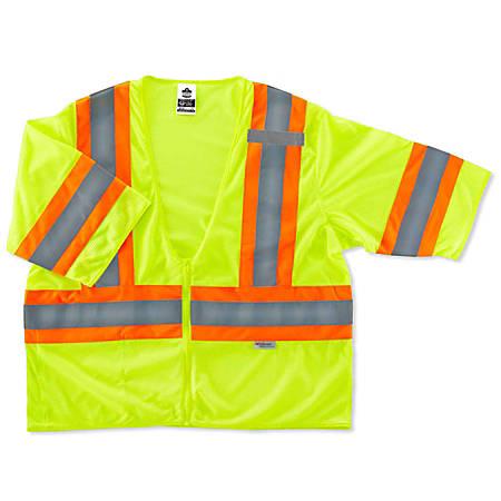 Ergodyne GloWear Safety Vest, 2-Tone, Type-R Class 3, 4X/5X, Lime, 8330Z