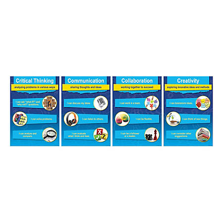 "Barker Creek 4-C Skills Posters, 13-3/8"" x 19"", Multicolor, Set Of 4 Posters"