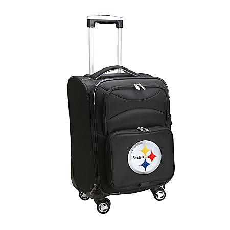 """Denco ABS Upright Rolling Carry-On Luggage, 21""""H x 13""""W x 9""""D, Pittsburgh Steelers, Black"""
