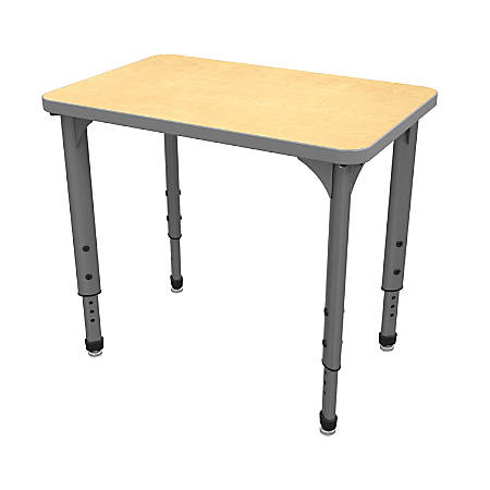Marco Group Apex™ Series Adjustable Rectangle Student Desk, Fusion Maple/Gray