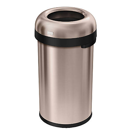 simplehuman® Bullet Open Trash Can, 16 Gallons, Rose Gold Steel