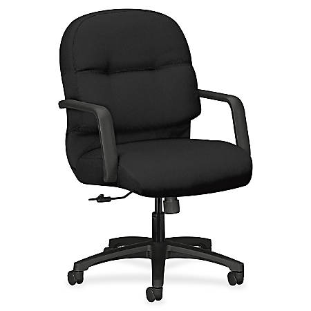 """HON Pillow-Soft Executive Mid-Back Chair - Polyester Black Seat - Polyester Black Back - Black Frame - 5-star Base - 22"""" Seat Width x 19"""" Seat Depth - 26.3"""" Width x 28.8"""" Depth x 41.8"""" Height"""
