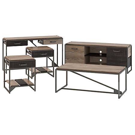 """Bush Furniture Refinery 60""""W TV Stand With Console Table, Coffee Table And End Tables, Rustic Gray/Charred Wood, Standard Delivery"""