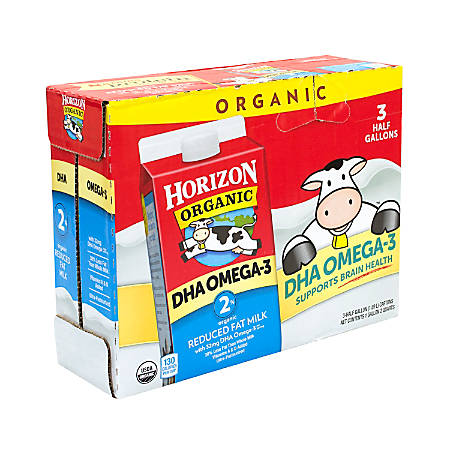 Horizon Organic 2% Milk With DHA Omega-3, 64 Oz, Pack Of 3