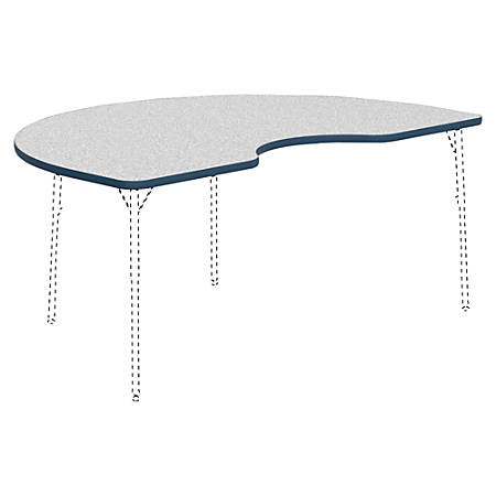 "Lorell® Classroom Kidney-Shaped Activity Table Top, 72""W x 48""D, Gray Nebula/Navy"