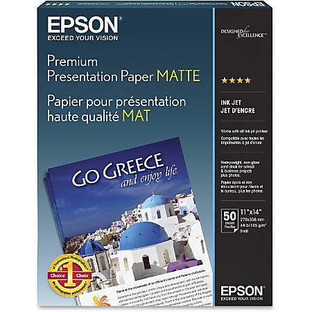 "Epson® Very High Resolution Print Paper, 11"" x 14"", 97 Brightness, 44 Lb, Pack Of 50 Sheets"