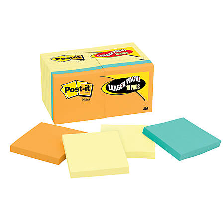 "Post-it® Notes, 3"" x 3"", Assorted Colors, Pack Of 18 Pads"