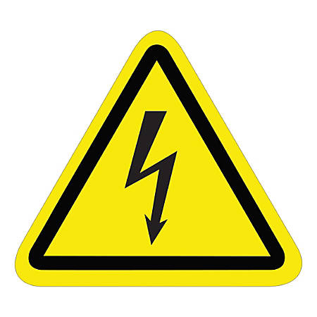"""Tape Logic Durable Triangle Safety Labels, DSL504, 2-1/4"""", Electric Shock, Black/Yellow, Pack Of 25 Labels"""