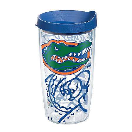 Tervis Genuine NCAA Tumbler With Lid, Florida Gators, 16 Oz, Clear