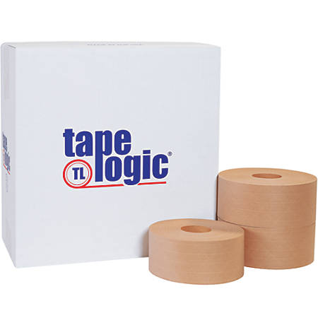 """Tape Logic® Reinforced Water-Activated Packing Tape, #7000, 3"""" Core, 2.8"""" x 125 Yd., Kraft, Case Of 8"""