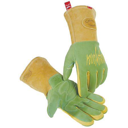 Caiman Revolution Deerskin Leather Welding Gloves, Large, Green/Gold